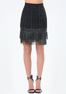 Fringe Hem Lace Up Skirt