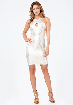 bebe Foil Knit Keyhole Dress