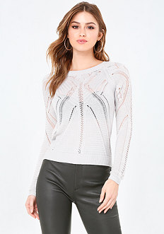 Pointelle Hi-Lo Sweater