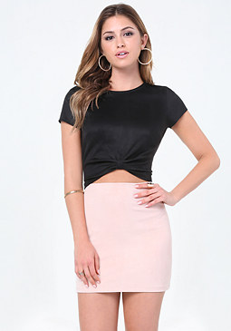 bebe Faux Suede Knotted Crop Top