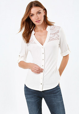 bebe Allie Lace Yoke Top