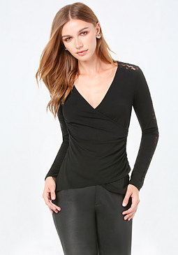 bebe Lace Side Zip Surplice Top