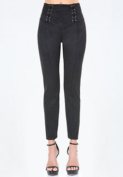bebe Faux Suede Lace Up Leggings