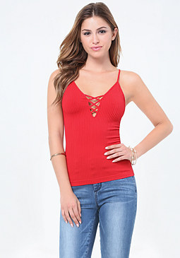 bebe Strappy Lace Up Tank