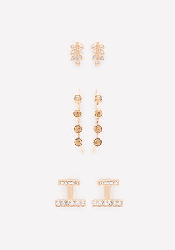 bebe Crystal Trio Earring Set