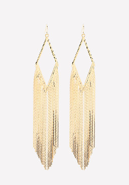 bebe Snake Chain Fringe Earrings