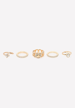 bebe Crystal Mix Ring Set