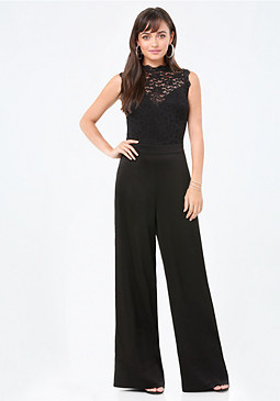 bebe Lace Mock Neck Jumpsuit