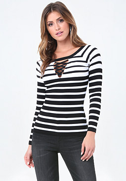 bebe Mix Stripe Sweater Top