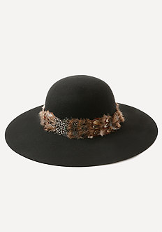 Feather Band Floppy Hat