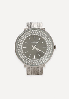 bebe Crystal & Snake Chain Watch