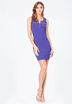 bebe Logo Ribbed Cage Back Dress