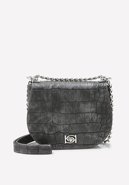 bebe Michelle Croc Saddle Bag