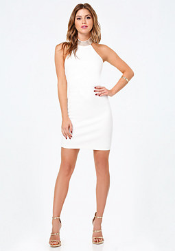 bebe Jeweled Collar Halter Dress