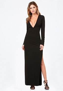 bebe Buckle Trim Deep V Gown