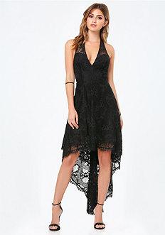 Lace Deep V Hi-Lo Dress