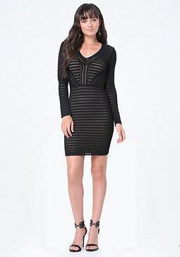 bebe Maeve Mesh Sweater Dress