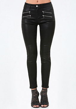bebe Coated Zip Skinny Jeans