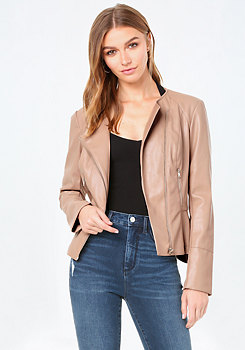bebe Faux Leather Peplum Jacket
