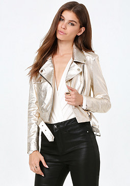 bebe Gold Leather Moto Jacket