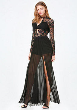 bebe Petite Pleated Lace Gown