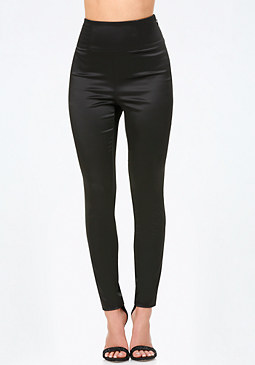 bebe Tiana Satin High Rise Pants