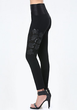 bebe Applique High Rise Leggings