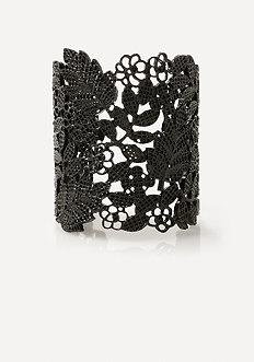 Black Flower Cuff Bracelet