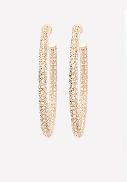 bebe Thick Crystal Hoop Earrings