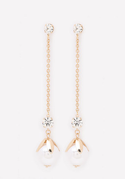 bebe Faux Pearl Drop Earrings