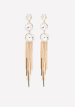bebe Fringe Triple Drop Earrings