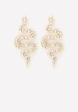 bebe Crystal Snake Earrings