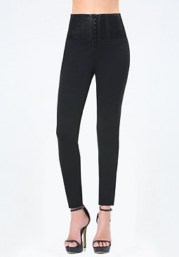 bebe Petite Hook & Eye Leggings