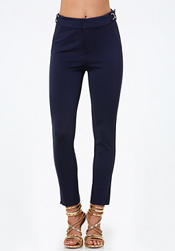 bebe Petite Buckle Trim Pants