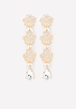 bebe Crystal Bloom Drop Earrings
