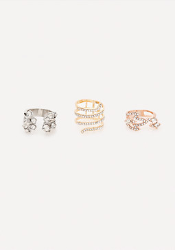 bebe Glam Crystal Ring Set