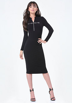 Logo Zip Midi Dress