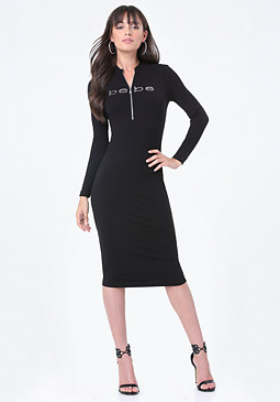 bebe Logo Zip Midi Dress