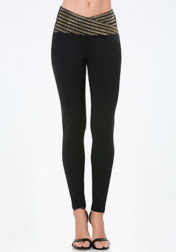 bebe Embellished Waist Leggings