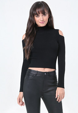 bebe Ribbed Mock Neck Sweater