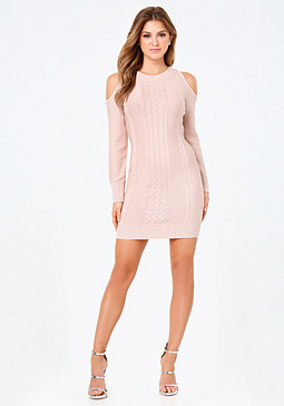 bebe Cabled Cold Shoulder Dress
