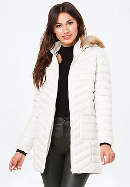 Faux Fur Puffer Coat at bebe