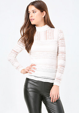 bebe Lace Panel Mock Neck Top