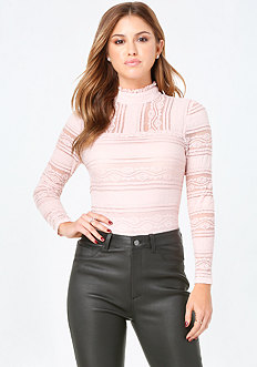 Lace Panel Mock Neck Top