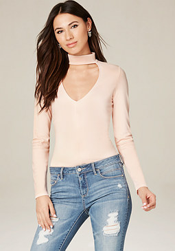 bebe Collared V-Neck Top