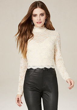 Metallic Lace Top at bebe