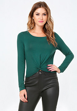 bebe Front Twist Crop Top