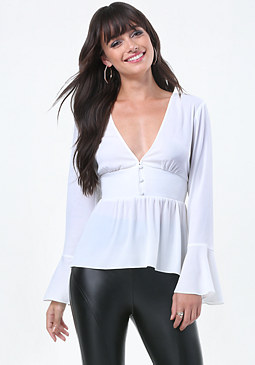 bebe Bell Sleeve V-Neck Top