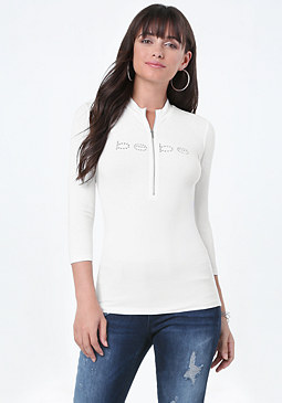 bebe Logo Zip Up Top