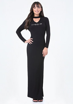 bebe Logo Mock Neck Maxi Dress